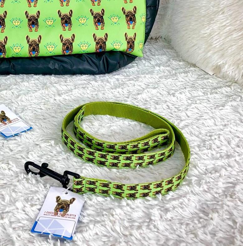 I Cuccioli di Carlotta LEASH - Verde - Guinzaglio per bulldog francese